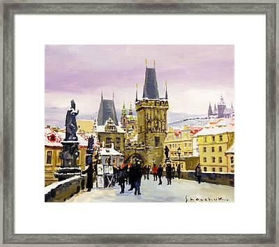 Prague Gharles Bridge Winter Framed Print by Yuriy Shevchuk