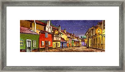Prague Golden Line Street  Framed Print by Dmitry Koptevskiy