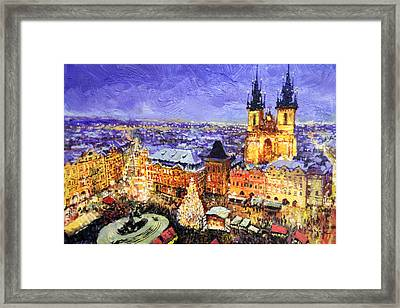 Prague Old Town Square Christmas Market Framed Print by Yuriy Shevchuk