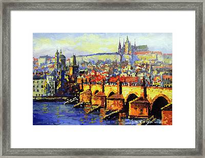 Prague Panorama Charles Bridge Framed Print by Yuriy Shevchuk