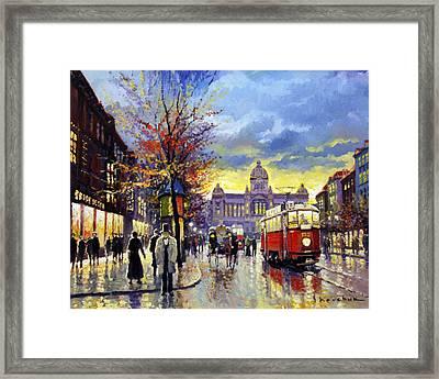 Prague Vaclav Square Old Tram Imitation By Cortez Framed Print by Yuriy  Shevchuk