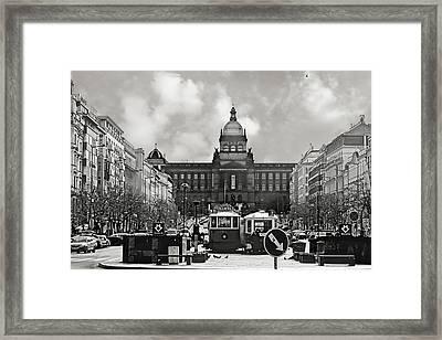 Prague Wenceslas Square And National Museum Framed Print by Christine Till