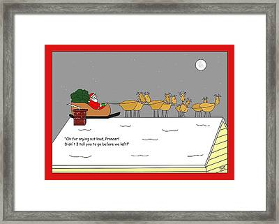 Prancers Gotta Go Christmas Card Framed Print by Manly Thweatt