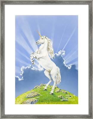 Prancing Unicorn Framed Print by Irvine Peacock
