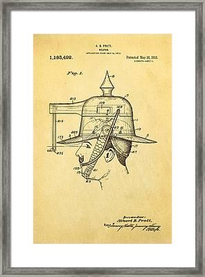 Pratt Weapon Hat Patent Art 1916 Framed Print by Ian Monk