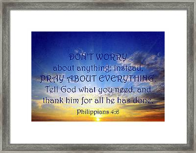 Pray About Everything 1 Framed Print by Angelina Vick