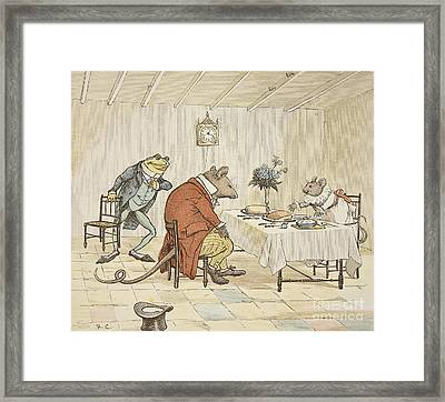 Pray Miss Mouse Will You Give Us Some Beer Framed Print by Randolph Caldecott