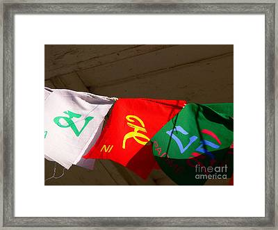 Prayer Flags Framed Print by Angela Wright