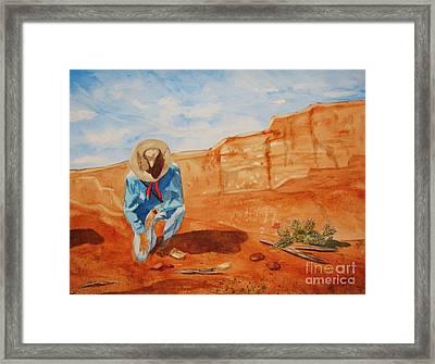 Prayer For Earth Mother Framed Print by Ellen Levinson