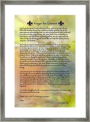 Prayer For Enemies Framed Print by Bonnie Barry