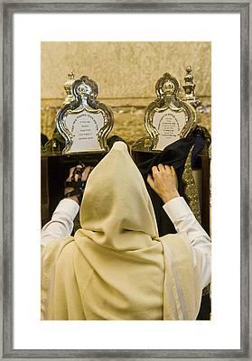 Prayer In The Wailing Wall Framed Print by Kobby Dagan