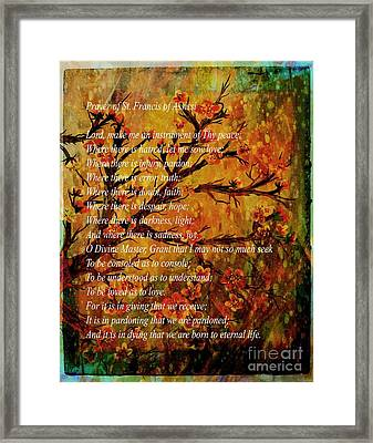 Prayer Of St. Francis Of Assisi  And Cherry Blossoms Framed Print by Barbara Griffin
