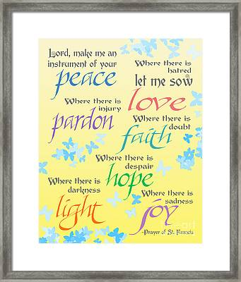 Prayer Of St Francis - Pope Francis Payer -yellow With Butterflies Framed Print by Ginny Gaura