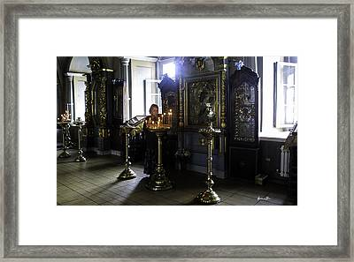 Praying At The Convent - Moscow - Russia Framed Print by Madeline Ellis