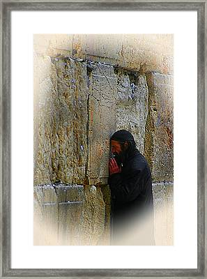 Praying At The Western Wall Framed Print by Doc Braham