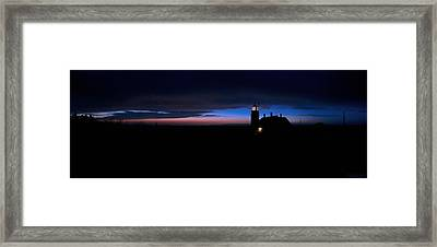 Pre Dawn Light Panorama At Quoddy Framed Print by Marty Saccone