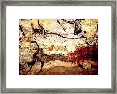 Prehistoric Bulls Lascaux Cave Se France  Framed Print by L Brown