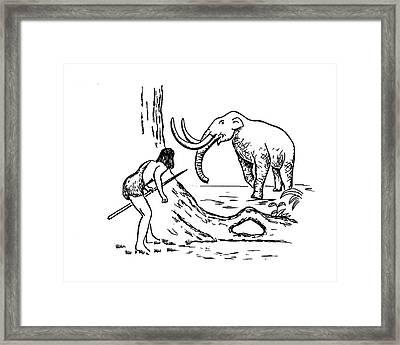 Prehistoric Man Hunting A Mammoth Framed Print by Richard Bizley