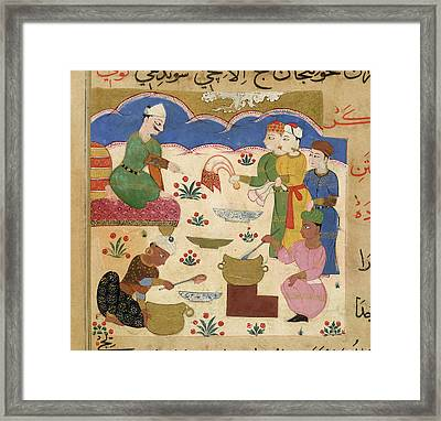 Preparation Of Halwa Framed Print by British Library
