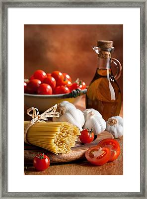 Preparation Of Italian Spaghetti Pasta Framed Print by Amanda Elwell