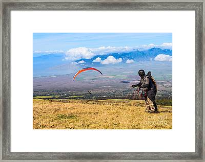 Preparing For Take Off - Paragliders Taking Off High Over Maui. Framed Print by Jamie Pham