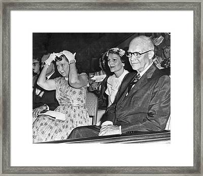 President And Mrs. Eisenhower Framed Print by Underwood Archives