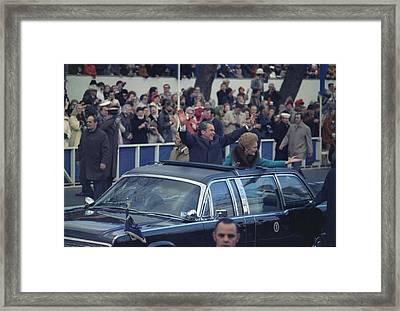 President And Mrs. Nixon Waving Framed Print by Everett
