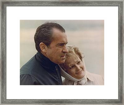 President And Pat Nixon In An Framed Print by Everett