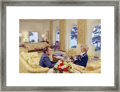President And Pat Nixon Sitting Framed Print by Everett