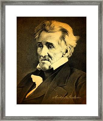 President Andrew Jackson Portrait And Signature Framed Print by Design Turnpike