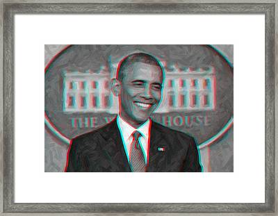 President Barack Obama In 3d Framed Print by Celestial Images