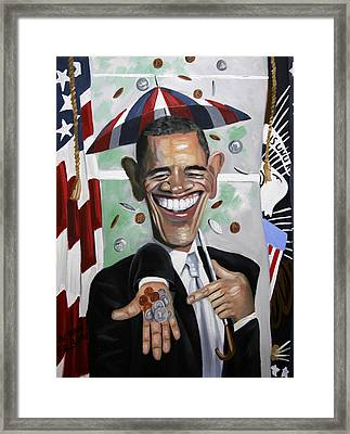 President Barock Obama Change Framed Print by Anthony Falbo