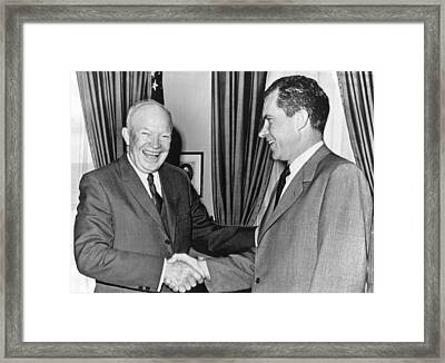 President Eisenhower And Nixon Framed Print by Underwood Archives