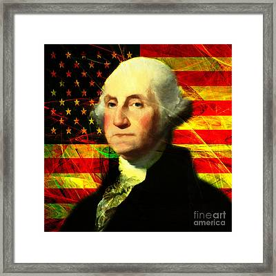 President George Washington V2 Square Framed Print by Wingsdomain Art and Photography