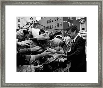 President John F. Kennedy Shaking Hands Framed Print by Retro Images Archive