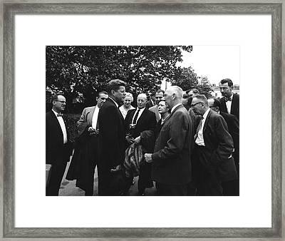 President John F. Kennedy Visits Framed Print by Stocktrek Images