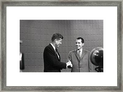 President John Kennedy And President Richard Nixon In The 1960 Debate Framed Print by Retro Images Archive
