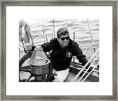 President John Kennedy Sailing Framed Print by War Is Hell Store