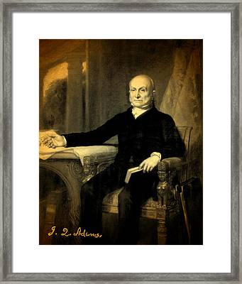 President John Quincy Adams Portrait And Signature Framed Print by Design Turnpike