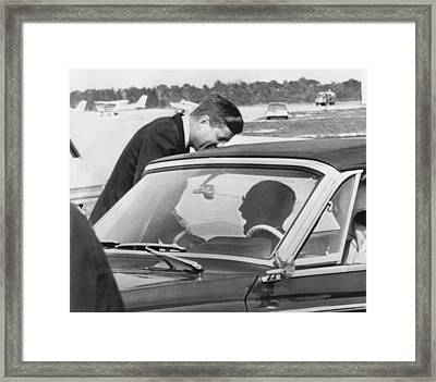 President Kennedy And Father Framed Print by Underwood Archives