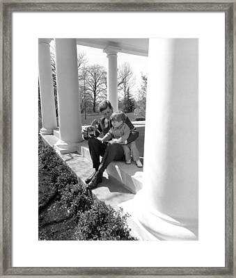President Kennedy And John-john Framed Print by Underwood Archives