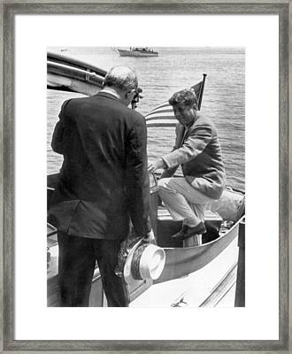 President Kennedy And Rusk Framed Print by Underwood Archives