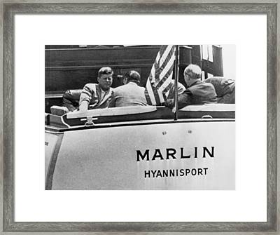 President Kennedy With Aides Framed Print by Underwood Archives