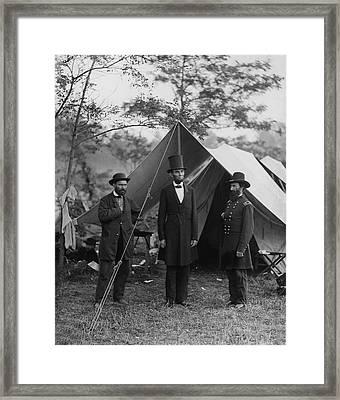 President Lincoln At Antietam Framed Print by Alexander Gardner