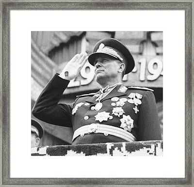 President Marshal Tito Salutes Framed Print by Underwood Archives