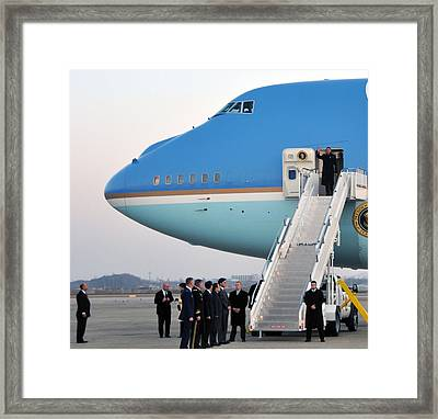 President Obama, Osan Air Base, Korea Framed Print by Science Source
