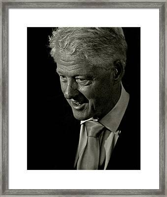 President Of The United States William Jefferson Bill Clinton Framed Print by Gilberto Gutierrez