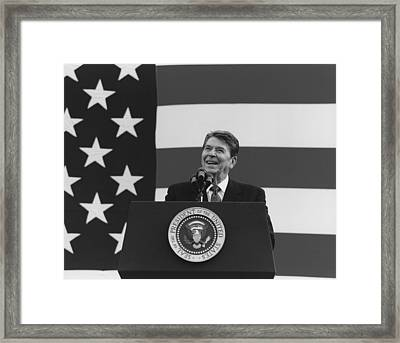 President Reagan American Flag  Framed Print by War Is Hell Store