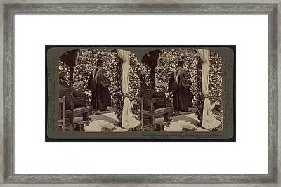 President Roosevelt In Academic Robe Addressing Students Framed Print by Litz Collection