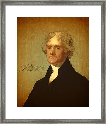 President Thomas Jefferson Portrait And Signature Framed Print by Design Turnpike
